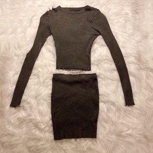 Gray distressed skirt set